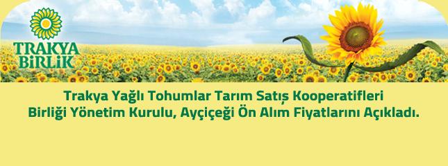 Trakya Yağlı Tohumlar Tarım Satış Kooperatifleri Birliği Yönetim Kurulu, Ayçiçeği Ön Alım Fiyatı Belirlendi